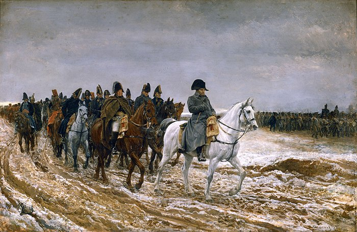 Napoleon, shown with his marshals and staff, leads his army over roads made muddy by days of rain. Though his empire was crumbling, Napoleon proved to be a dangerous opponent in the Six Days Campaign. Jean-Louis-Ernest Meissonier-Campagne de France.jpg