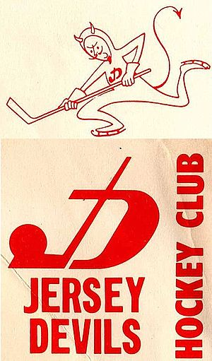 Jersey Devils - Reproduction of two logos on a letter from the Jersey Devils in 1972-73, the last season before the team folded.