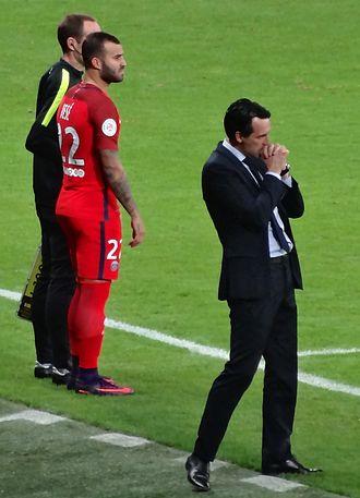 Jesé - Jesé alongside manager Unai Emery for Paris Saint-Germain in 2017.