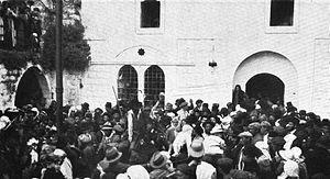 Meiron - Jewish pilgrims in Meiron, c. 1920.