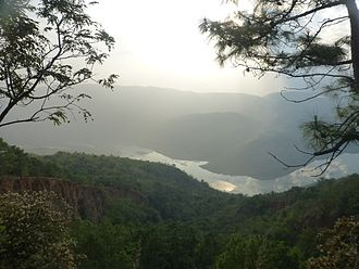 Red River Fault - The Red River (Nansha Reservoir) seen from the slope of its deep valley, south of Potou Township, Jianshui County