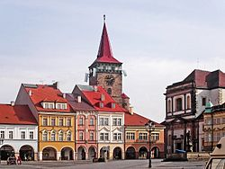 Jicin - Valdstejn's square with Valdicka gate.jpg