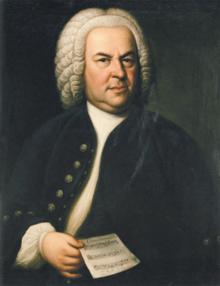 Johann Sebastian Bach 1746, mit Rätselkanon (Zweitversion des Ölgemäldes von Elias Gottlob Haußmann)[1] (Quelle: Wikimedia)