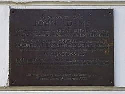 Photo of John Adams, Abigail Adams, and Abigail Adams bronze plaque
