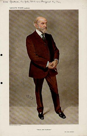 "John Jackson (engineer) - ""Docks and Harbours"". Caricature by Spy published in Vanity Fair in 1909."