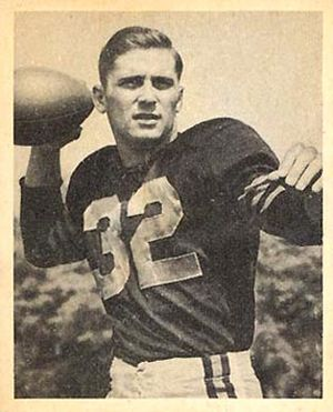 Johnny Lujack - Lujack on a 1948 Bowman football card