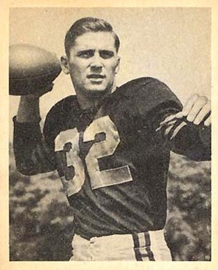 Lujack on a 1948 Bowman football card, wearing jersey No. 32, posing as if attempting a pass