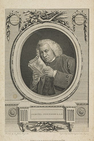 Lives of the Most Eminent English Poets - A print of Samuel Johnson, based on a portrait by Joshua Reynolds, later used in the 1806 edition of the Lives of the Poets