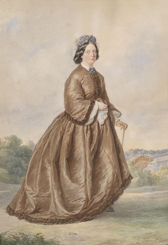 Josef Kriehuber Bildnis einer Dame vom Lande in braunem Kleid 1862.jpg