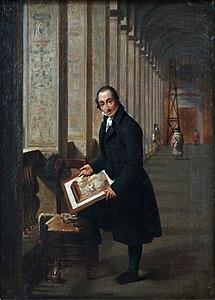 Joseph François Ducq - Le graveur Joseph de Meuleneester au travail dans les loges de Raphaël au Vatican.jpg