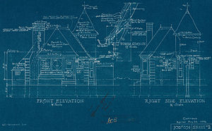 Cyanotype - Architectural drawing blueprint, Canada, 1936