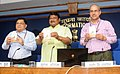 Jual Oram launching the e-book of the Ministry, in New Delhi on June 05, 2015. The Secretary, Ministry of Tribal Affairs, Shri Arun Jha and the Additional Director General, PIB, Shri K.S. Dhatwalia are also seen.jpg
