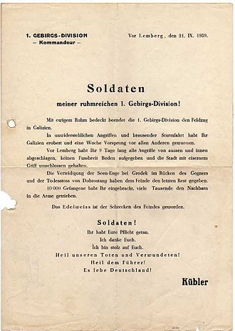 Ludwig Kübler - Daily Order of General Ludwig Kübler to the soldiers of 1st Mountain Division after the Battle of Lwów (September 21st, 1939)