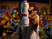 An aerosol paint can, common tool for modern graffiti