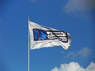 Kadıköy - Kadıköy Municipality's flag waving at Kadıköy Square