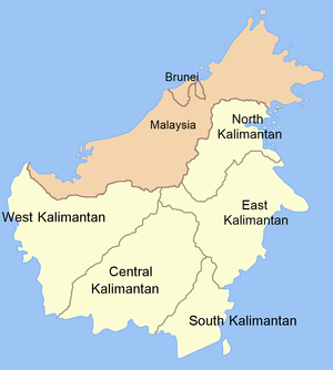 Kalimantan - Map of Kalimantan (light colour) and its component provinces.