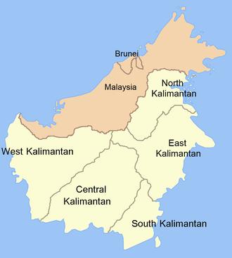 Kalimantan - Map of Kalimantan (light colour) and its component provinces.
