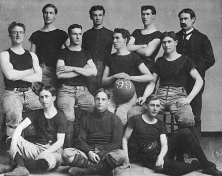 The 1899 University of Kansas basketball team, with James Naismith at the back, right. Kansas U team 1899.jpg
