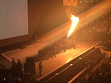 "Kanye West performing the song ""All Day"" at the thirty-fifth annual BRIT Awards on February 25, 2015 in London, England."