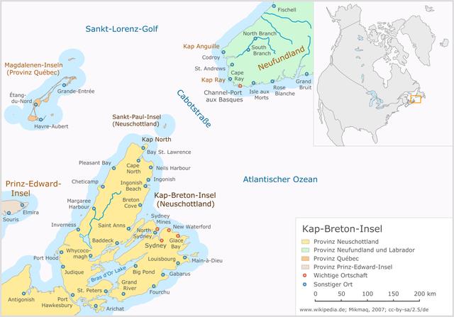 Landkarte Kap-Breton-Insel