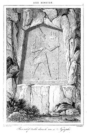 Karabel relief - Illustration by Charles Texier