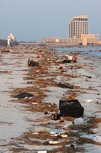 Biloxi beach near casinos, before cleanup