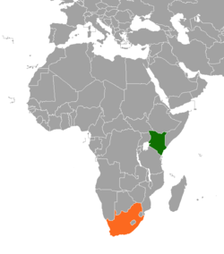 Map Indicating Locations Of Kenya And South Africa
