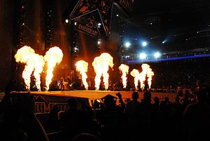 a8b9e939d A display of pyrotechnics during one of Kid Rock's performances. His stage  presence helped increase his local following in Detroit in the mid-1990s.