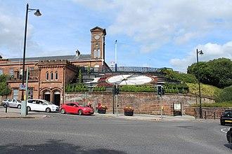Kilmarnock railway station - Main entrance to Kilmarnock railway station, showing the new floral clock