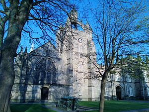 University of Aberdeen - King's College, Aberdeen. Visible is the chapel and tomb of William Elphinstone, seen in May 2013