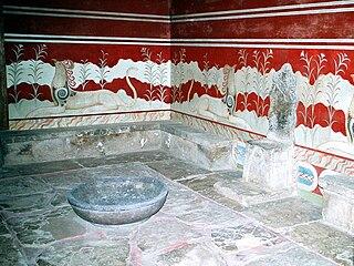 Throne Room, Knossos chamber inside the palatial complex of Knossos, Crete, Greece