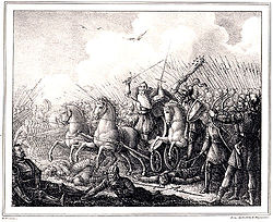 Konung Harald Hildetand faller i Bråvalla slag by Hugo Hamilton.jpg
