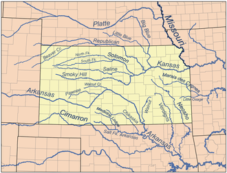 Little Blue River (Kansas/Nebraska) - Map of rivers in Kansas with the Little Blue in the north