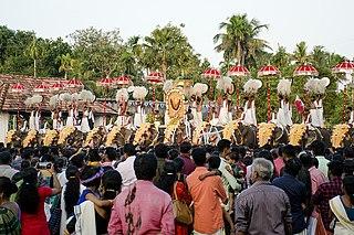 Pooram Annual Hindu festival in Kerala, India