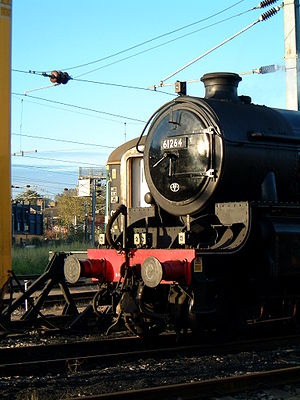 Smokebox - Steam Locomotive 61264 at Norwich Crown Point rail depot. The smokebox can be clearly seen, with the number affixed to the smokebox door.