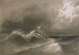 Cyrille Pierre Théodore Laplace - La Favorite under sail for Bourbon at the approach of the second hurricane.