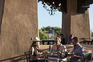 La Fonda on the Plaza - People dining at the Bell Tower restaurant, La Fonda