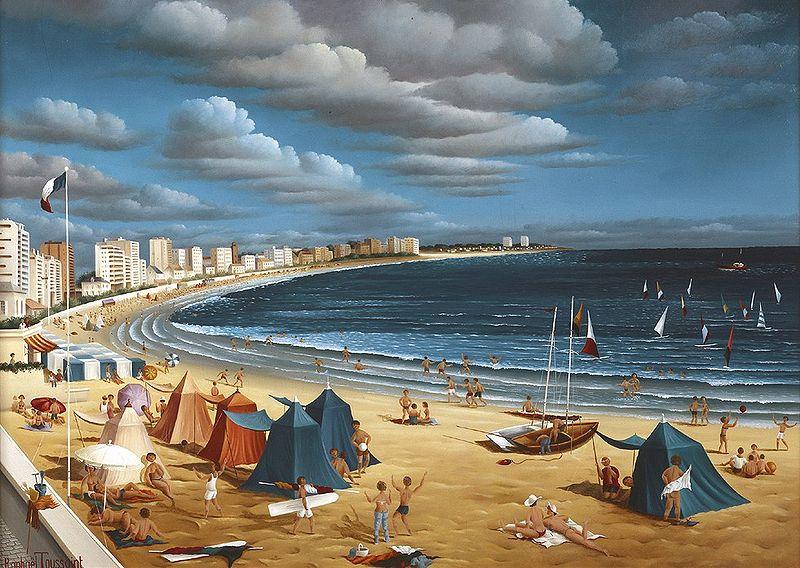 Raphaël Toussaint - Peintre de la Vendée 800px-La_plage_des_Sables_d%27Olonne_par_Rapha%C3%ABl_Toussaint