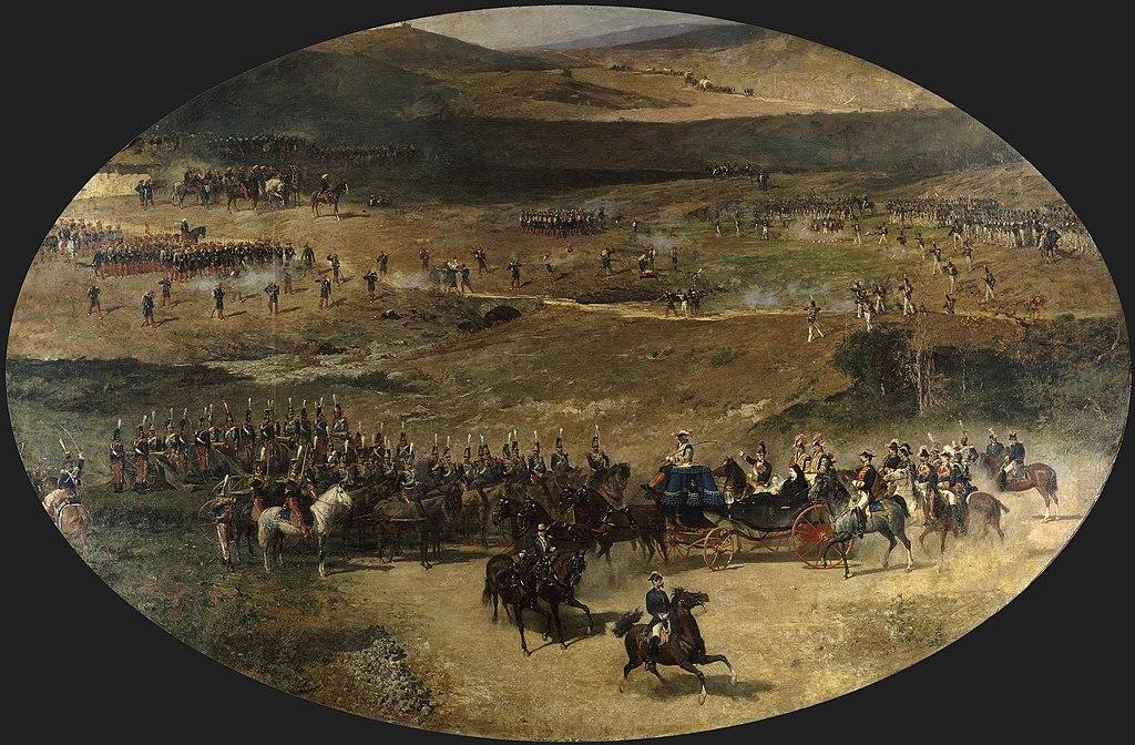 La reina María Cristina y su hija Isabel II pasando revista a las baterías de artillería que defendían Madrid en 1837 (Museo del Prado).jpg