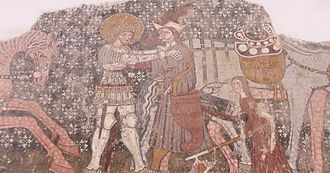 Cumania - Hungarian King Ladislaus I of Hungary (on the left) wrestling with the Cuman khan (on the right. Ironically, the holder of this office will find refuge in Hungary two centuries later, during the days of king Béla IV Árpád, and will remain resident as khan-in-exile with an émigré court.)