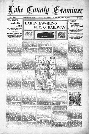 Lake County Examiner - Front page December 20, 1900