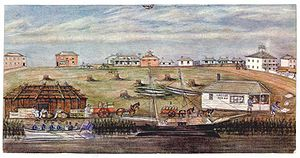 Archibald James Campbell - Landing at Melbourne 1840 - a watercolour by WFE Liardet, State Library of Victoria, Australia