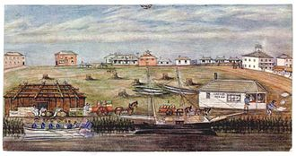 Melbourne Landing, 1840; watercolor by W. Liardet (1840) Landing at melbourne 1840.jpg