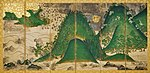 Six section folding screen with landscape painting in gold, brown and green colors.