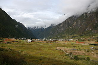 Langtang - Langtang village before it was destroyed by an avalanche caused by an earthquake in 2015
