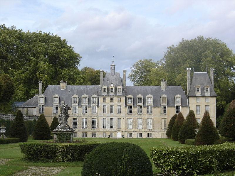 File lantheuil ch teau de manneville fa ade sud et son for Jardin a la francaise