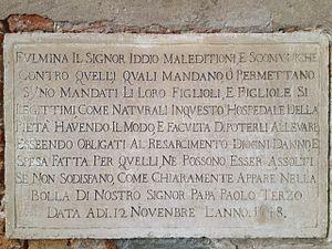 Santa Maria della Pietà, Venice - Image: Lapide chiesa Pietà
