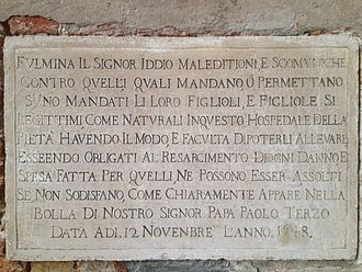 Santa Maria della Pietà, Venice - Plaque on the exterior of the church threatening excommunication to all who abandon children for whom they can provide.