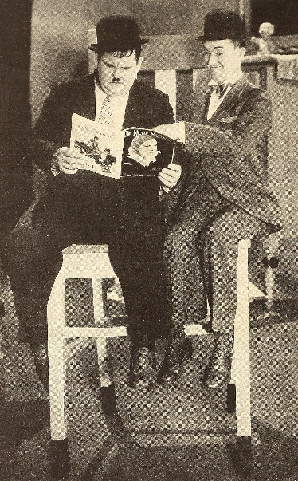 Laurel & Hardy reading The New Movie