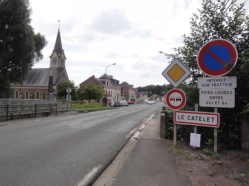 Le Catelet (Aisne) city limit sign